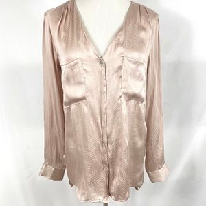 H&M Pink Dot Long Sleeve Buttoned Blouse Top